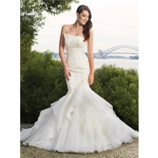 Trumpet/Mermaid strapless chapel train organza wedding gown with ruffles