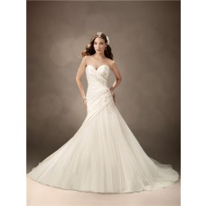 Trumpet/Mermaid sweetheart chapel train satin tulle beaded wedding dress
