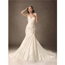 Trumpet/Mermaid sweetheart court train ivory satin wedding dress