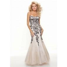 Trumpet/Mermaid sweetheart floor length unique black embroidery prom dress