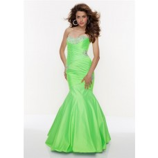 Trumpet/Mermaid sweetheart long lime green prom dress with beading
