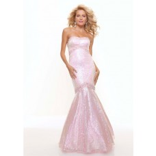 Trumpet/Mermaid sweetheart long pink sequined prom dress with beading