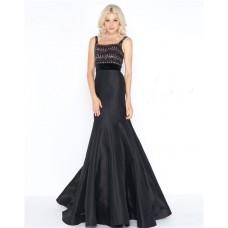 Trumpet Square Neck Black Taffeta Beaded Prom Dress With Straps