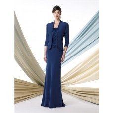 Two Piece Suit Royal Blue Chiffon Mother Of The Bride Formal Occasion Evening Dress