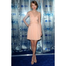 Unique Asymmetric Short/ Mini Peach Chiffon Taylor Swift Inspired Dress