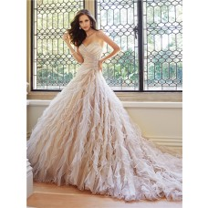 Unique Ball Gown Srapless Sweetheart Neckline Tulle Ruffle Layered Wedding Dress Corset Back