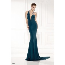 Unique Illusion Neckline Teal Jersey Tulle Beaded Evening Prom Dress