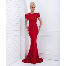Unique Mermaid Bodycon Short Sleeve Sheer Back Long Red Chiffon Evening Prom Dress