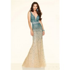 Unique Mermaid Deep V Neck Champagne Tulle Turquoise Beaded Prom Dress