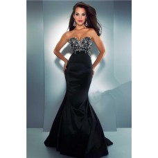 Unique Mermaid Sweetheart Long Black Satin Beaded Crystal Evening Prom Dress