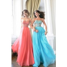 Unique Sexy A Line Cut Out Long Coral Chiffon Gold Beaded Prom Dress Detachable Straps