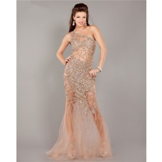 Unique Sexy One Shoulder See Through Champagne Tulle Beaded Prom Dress