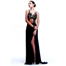 Unique Sexy Sheath Illusion Neckline Long Black Chiffon Lace Evening Prom Dress Cut Out
