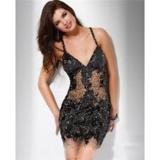 Unique Sexy V Neck Sheer Cut Out Short Mini Black Sequin Club Cocktail Party Dress