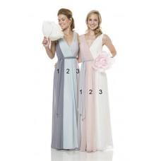 Unique Sheath V Neck And Back Long Multi Colored Chiffon Occasion Bridesmaid Dress With Sash