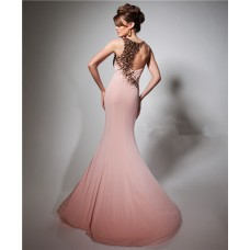 Unique Slim Mermaid Scoop Neck Sheer Back Long Peach Chiffon Beaded Evening Prom Dress