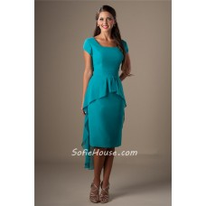 Unique Square Neck Short Sleeves Turquoise Chiffon High Low Party Bridesmaid Dress