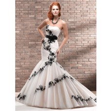 Unique Trumpet/ Mermaid Strapless Champagne Black Lace Wedding Dress With Sash