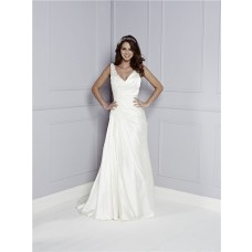 Unusual Asymmetrical Strap V Neck And Back Draped Satin Lace Wedding Dress With Buttons