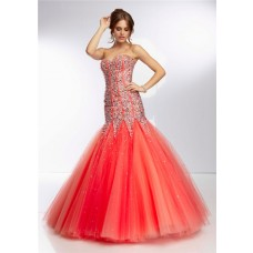 Unusual Mermaid Flared Strapless Long Watermelon Red Tulle Beaded Prom Dress Corset Back