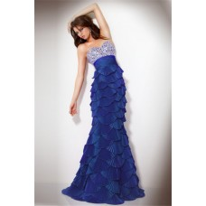 Unusual Mermaid Strapless Long Royal Blue Tiered Evening Dress With Beading
