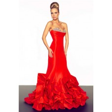 Unusual Mermaid Sweetheart Long Red Layered Taffeta Beaded Occasion Evening Prom Dress