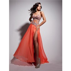 Unusual Sexy Sweetheart Sheer Long Coral Chiffon Corset Prom Dress With Beading