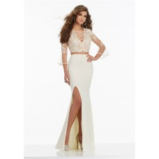Unusual Sheath Two Piece Ivory Jersey Prom Dress With 3 4 Lace Sleeves