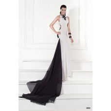 Unusual Sheath White Satin Embroidery Evening Occasion Dress With Black Chiffon Train