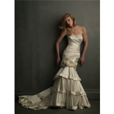 Unusual Strapless Champagne Satin Two In One Wedding Dress With Removable Skirt