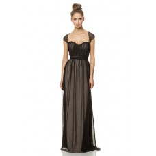 Unusual Straps Beaded Open Back Long Nude Satin Black Chiffon Occasion Bridesmaid Dress