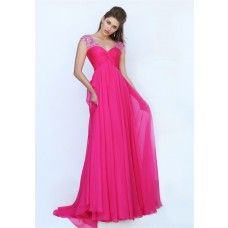 V Neck Cap Sleeve Open Back Empire Waist Long Hot Pink Chiffon Prom Dress