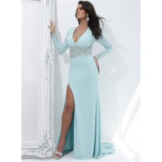 V Neck Long Sleeve Sheer See Through Back Baby Blue Chiffon Beaded Evening Prom Dress