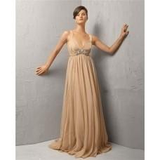 Vintage A Line Long Khaki Chiffon Beading Evening Dress With Straps