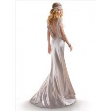 Vintage Chic Sheath V Neck Ivory Silk Satin Wedding Dress Open Back