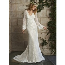 Vintage Mermaid Scalloped Neck Low Back Long Sleeve Lace Wedding Dress