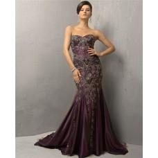 Vintage Mermaid Strapless Long Purple Silk Beading Evening Dress