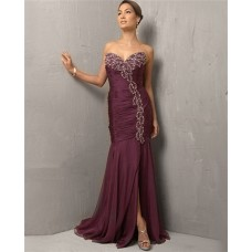 Vintage Mermaid/ Trumpet Sweetheart Long Purple Chiffon Beading Evening Dress With Slit