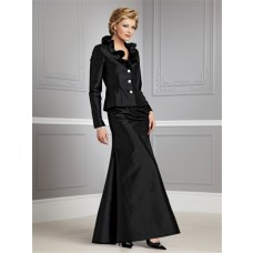 Vintage long black taffeta mother of the bride suit