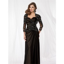 Vintage sweetheart floor length black silk lace mother of the bride dress with jacket
