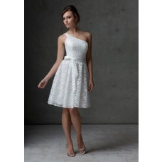 A line one shoulder knee length short white lace bridesmaid dress with sash