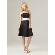 A line sweetheart knee length short black silk satin bridesmaid dress with sash