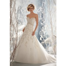 A Line Sweetheart V Back Organza Embroidery Lace Beaded Wedding Dress With Buttons