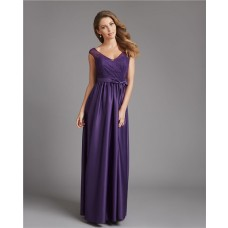 A Line V Neck Cap Sleeve Low Back Long Purple Satin Lace Bridesmaid Dress With Sash Bow