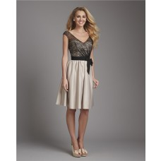 A Line V Neck Cap Sleeve Short Champagne Satin Black Lace Bridesmaid Dress With Sash