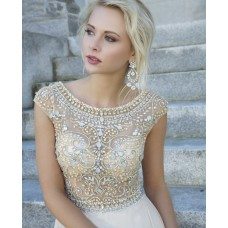 A Line Bateau Neckline Cap Sleeve V Back Long White Chiffon Gold Silver Beaded Prom Dress