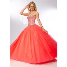 Ball Gown Strapless Sweetheart Corset Back Coral Tulle Beaded Crystal Prom Dress