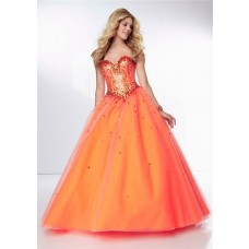 Ball Gown Sweetheart Drop Waist Orange Tulle Beaded Sparkly Prom Dress Corset Back