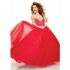 Ball Gown sweetheart floor length red tulle prom dress with beading