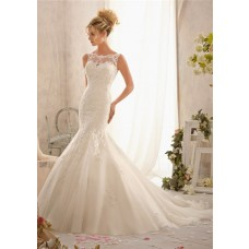 Fit And Flare Mermaid Scalloped Illusion Neckline V Back Tulle Lace Wedding Dress